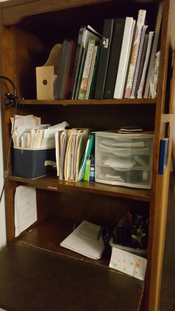 workspace desk and shelves