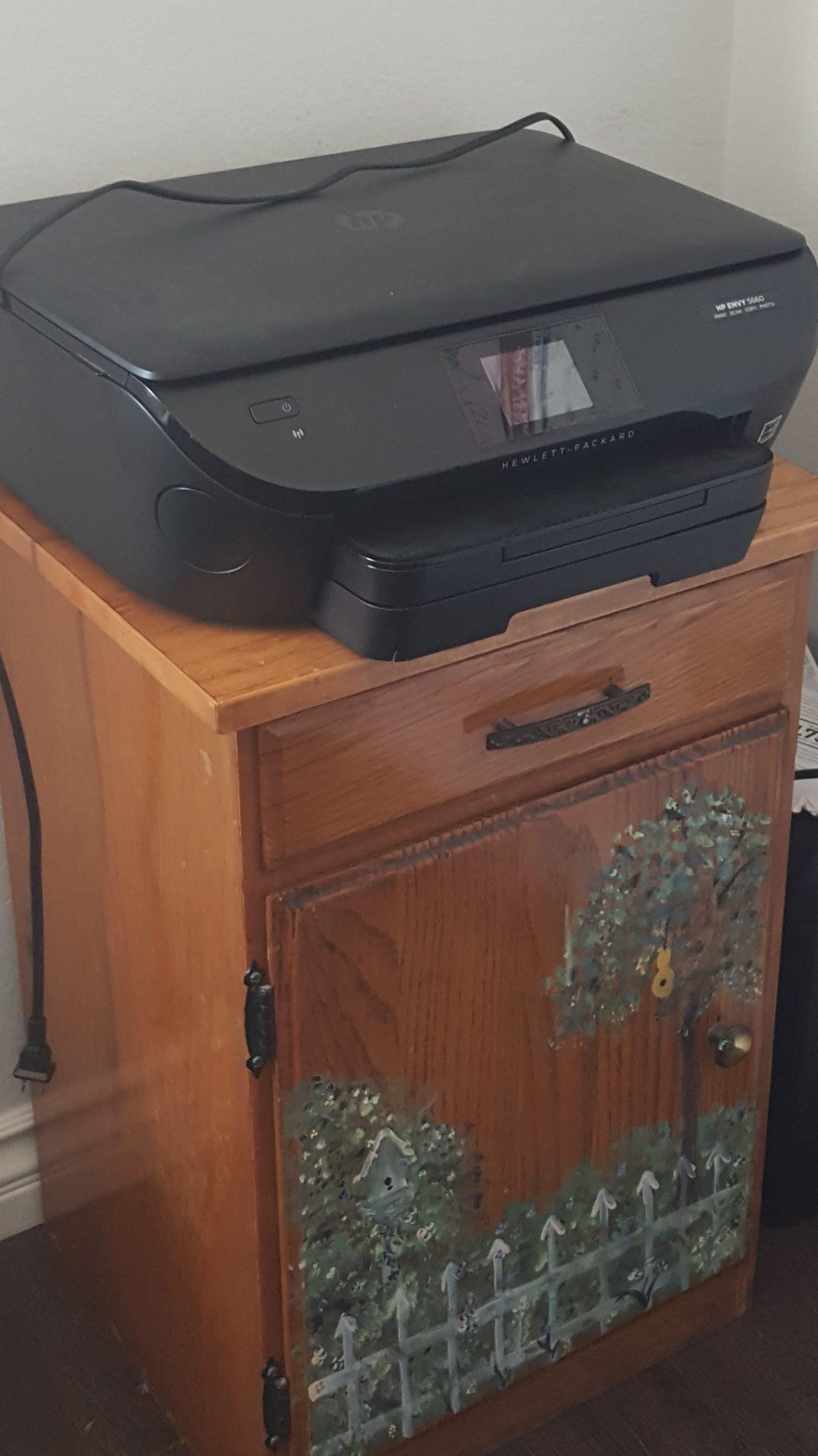 repurposed cabinet for printer stand
